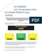 Conservative Party of Canada Platform 2019 Costing