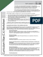 Curriculum Vitae Cv Worksheet