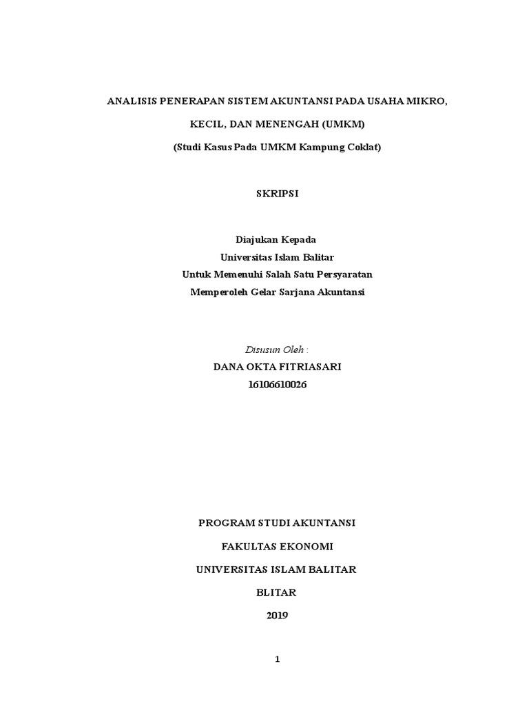 Dana Okta Analisis Penerapan Sistem Akuntansi Pada Umkm