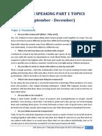 IELTS Speaking Part 1 Topics Forecast Sep-Dec