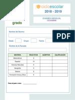 Examen Diciembre Sexto Grado 2018-2019