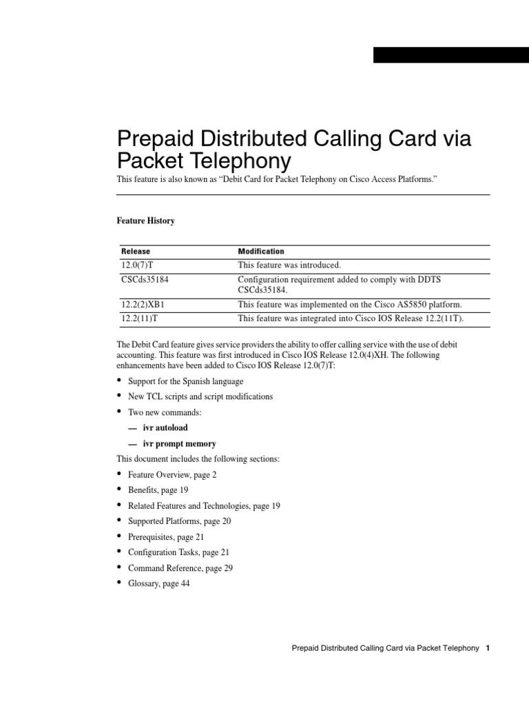 Cisco Prepaid Calling Card   Interactive Voice Response   Radius