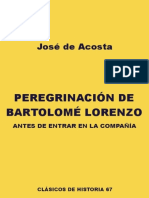 Acosta Jose de - Peregrinacion de Bartolome Lorenzo Antes de Entrar en La Compañia