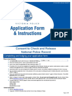 Consent to Check and Release National Police Record Form