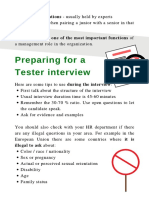 A test manager guide on Preparing to interview a tester
