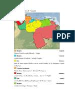 Mapa de Las Regiones de Venezuela