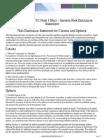 CFTC Risk Disclosure Statement - Appendix a to Rule 1.55