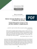 Maria Łuszczyńska - Wybrane koncepcje filozoficzne czasu i ich użyteczność w badaniach nad starością -- TEXT.pdf