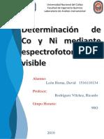 Determinación de Co y Ni Mediante Espectrofotometría Visible