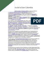 historia gran Colombia