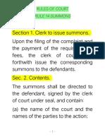 Rule 14 - Summons