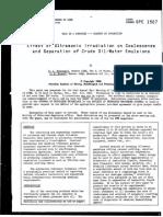 Efecto de ultrasonido en separación de crudo y agua