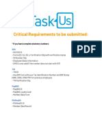 Critical Requirements [TaskUs]