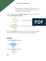 Perimeter Area Volume Notes