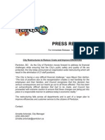 PRESS RELEASE-City Restructures
