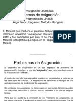 Inguaa Diapositivas Io 2019 Unidad 5 5problema de Asignación, Método Húngaro