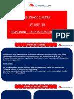 RBI Phase 1 Recap 1st August 18 Reasoning Alpha Numeric Series 1