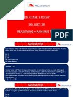 RBI Phase 1 Recap 9th July18 Reasoning Ranking Test