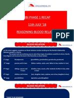 RBI Phase 1 Recap 11 July 18 Reasoning Blood Relation