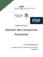 Cours Complet GRH -Dr. Amina Benraiss- S5 Gestion Des Entreprises 2016-2017!1!1