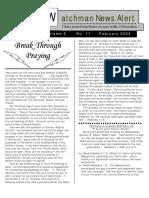 Watchman News Alert Feb 2004
