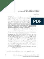 Notas sobre o CNE e a qualidade no Ensino Superior