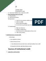 RURAL CREDIT Notes for Paridhi