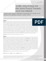 Analysis of the profile, areas of action and abilities of Brazilian Sports Physical Therapists working with soccer and volleyball