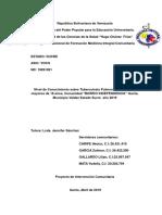 Is 5to Año Nivel de Conocimiento Sobre Tuberculosis Pulmonar en Usuarios Mayores de 18 Años, Comunidad Barrio Independencia