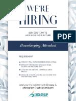 Job Ad Housekeeoing Attendant