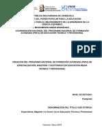 Documento Base Del Pnfa. Fundamentación Del Pnfa en Educación Técnica y Profesional