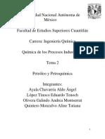 UNAM. FESC. Ingeniería química. Química de los procesos industriales. Petróleo y petroquímica. Equipo 2..pdf
