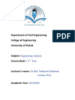 Course Book of Engineering Analysis for Civil Eng 2019-2020 ----- (Dr.rafi')