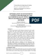 Optimization of Investment Casting Param