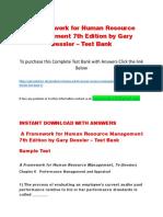 A Framework for Human Resource Management 7th Edition by Gary Dessler – Test Bank