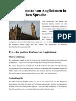 Pro Und Kontra Von Anglizismen in Der Deutschen Sprache