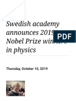 Swedish Academy Announces 2019 Nobel Prize Winners in Physics