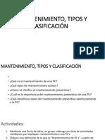 Mantenimiento, Tipos y Clasificación