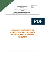 LISTA DE CHEQUEO DE AUDITORIA DE CALIDAD