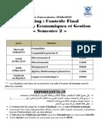 Planning Étudiant CF Printemps 4 Mai 2019