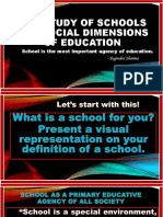The Study of School and Social Dimension of Education