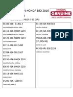Cotizacion Honda Dio 2016