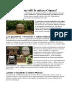 Cuándo Se Desarrolló La Cultura Olmeca