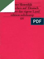 Peter Sloterdijk Versprechen auf Deutsch Rede über das eigene Land Suhrkamp