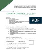 Cuadernillo de Ingreso. Lengua 1