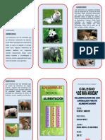 Triptico Clasificacion de Los Animales