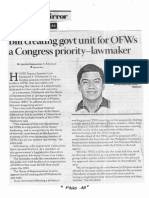 Business Mirror, Oct. 14, 2019, Bill creating govt unit for OFWs a Congress priority - Lawmaker.pdf