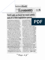 Business World, Oct. 14, 2019, TUCP calls on DoLE for more safety nets if CITIRA legislation passes.pdf