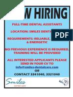 Dental Assistant Job Oct 2019..