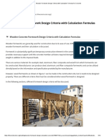 Wooden Formwork Design Criteria with Calculation Formulas for Concrete